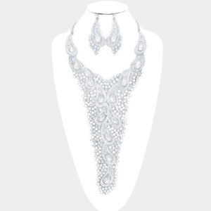 Embellished Necklace Set-Silver-Clear-49.99-8483