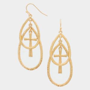 Double Teardrop Cross Earrings-Gold-0751