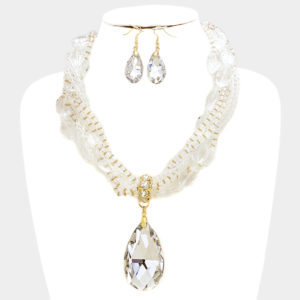 Twisted Glass necklace set-Clear Gold-5171