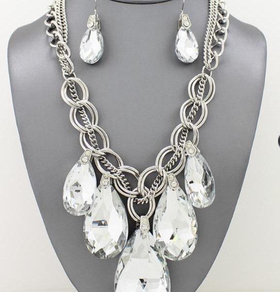 Crystal Teardrop Necklace Set-4104-Hematite-29.99