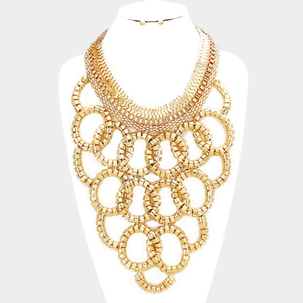 Layered Hoop Necklace Set-0317-29.99-Gold