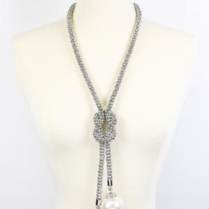 Mesh Pearl Drop Neckalce Set-5927-Silver-White-29.99