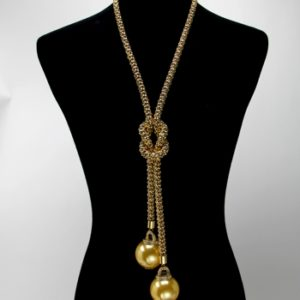 Mesh Pearl Drop Necklace Set-Gold, Gold-2741-29.99