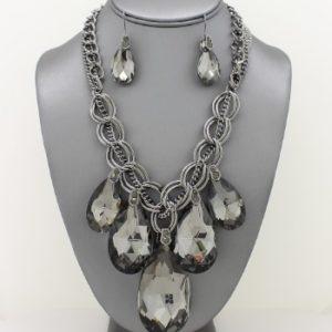 Teardrop Pendant Necklace Set-4104-Hematite-29.99