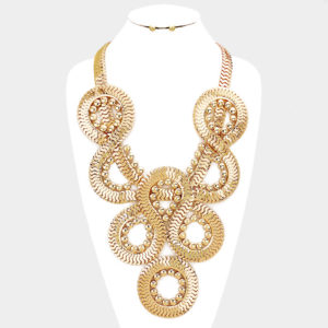 Twisted Metal Necklace Set-0325-34.99-Gold