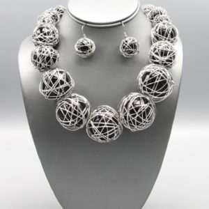 Wired Pearl Necklace Set-1817-Black-29.99