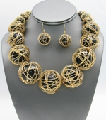 Wired Pearl Necklace Set-29.99-1818-Gold-Blk