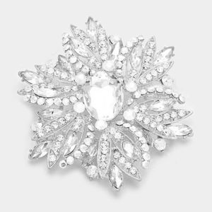 Floral Brooch-4212-Clear Silver-14.99