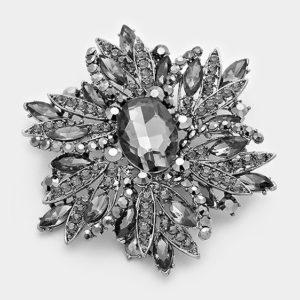 Floral Brooch-5434-Hematite-14.99