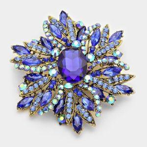 Floral Brooch-6774-Blue-14.99