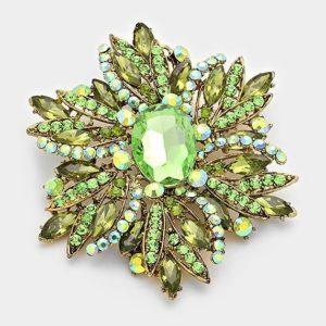 Floral Brooch-8666-14.99-Green