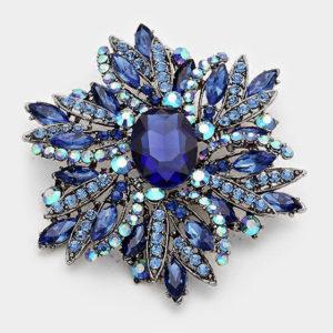 Floral Brooch-Blue-7491-14.99