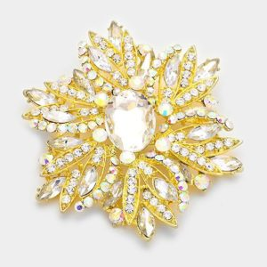 Floral Brooch-Gold Clear AB-14.99
