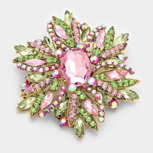 Floral Brooch-Pink & Green-2324-14.99