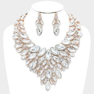 Marquise Bib Necklace Set-Clear & Gold-47.99-4108