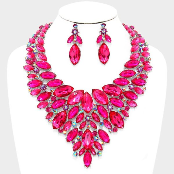 Marquise Bib Necklace and Earring Set-4105-47.99-Pink