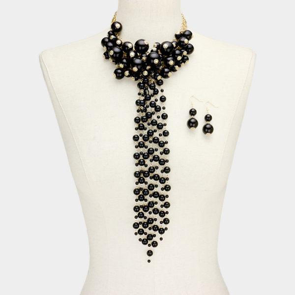 Pearl Cluster Necklace Set-5292-Black-29.99