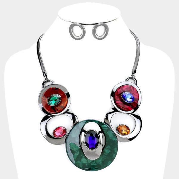 Stone Necklace Set-24.99-4903-Multi