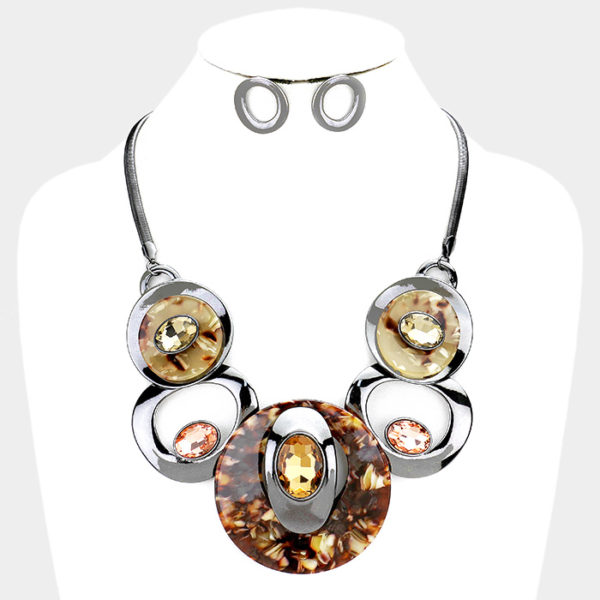 Stone Necklace Set-Brown-24.99-4901