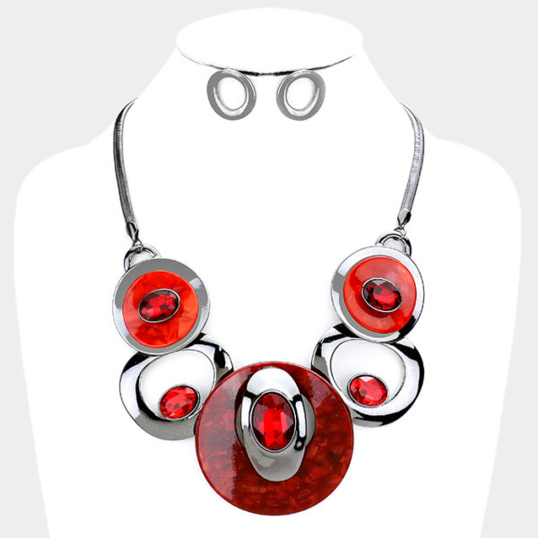 Stone Necklace Set-Red 24.99-4905