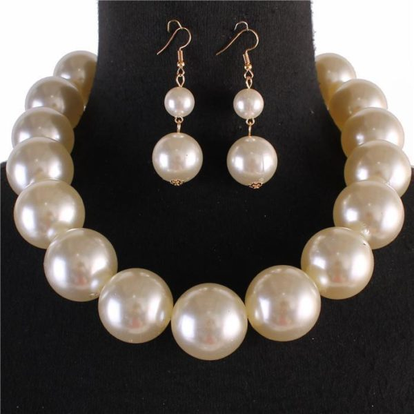 Chunky Pearl Necklace Set-6813-$19.99-Cream