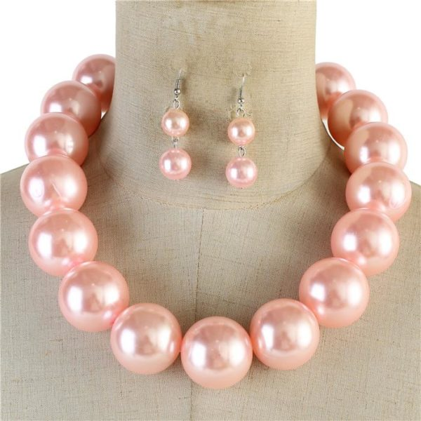 Chunky Pearl Necklace Set light pink-$24.99-6813
