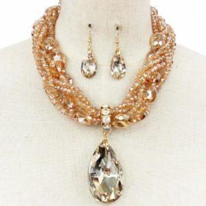 Diamond Drop Necklace Set-34.99-