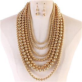 Multi Strand Necklace Set-Gold-5554