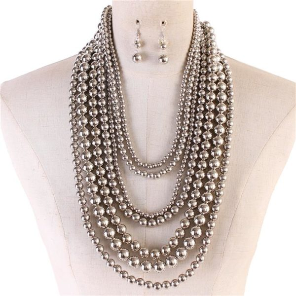 Multilayered Necklace Set-Silver-$29.99=5554