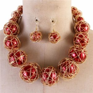 Wired Pearl Necklace Set-$29.99-Red-1819