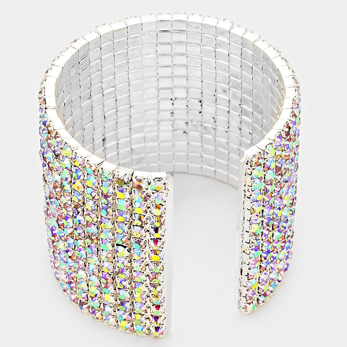 14 row rhinestone cuff bracelet focused fashions